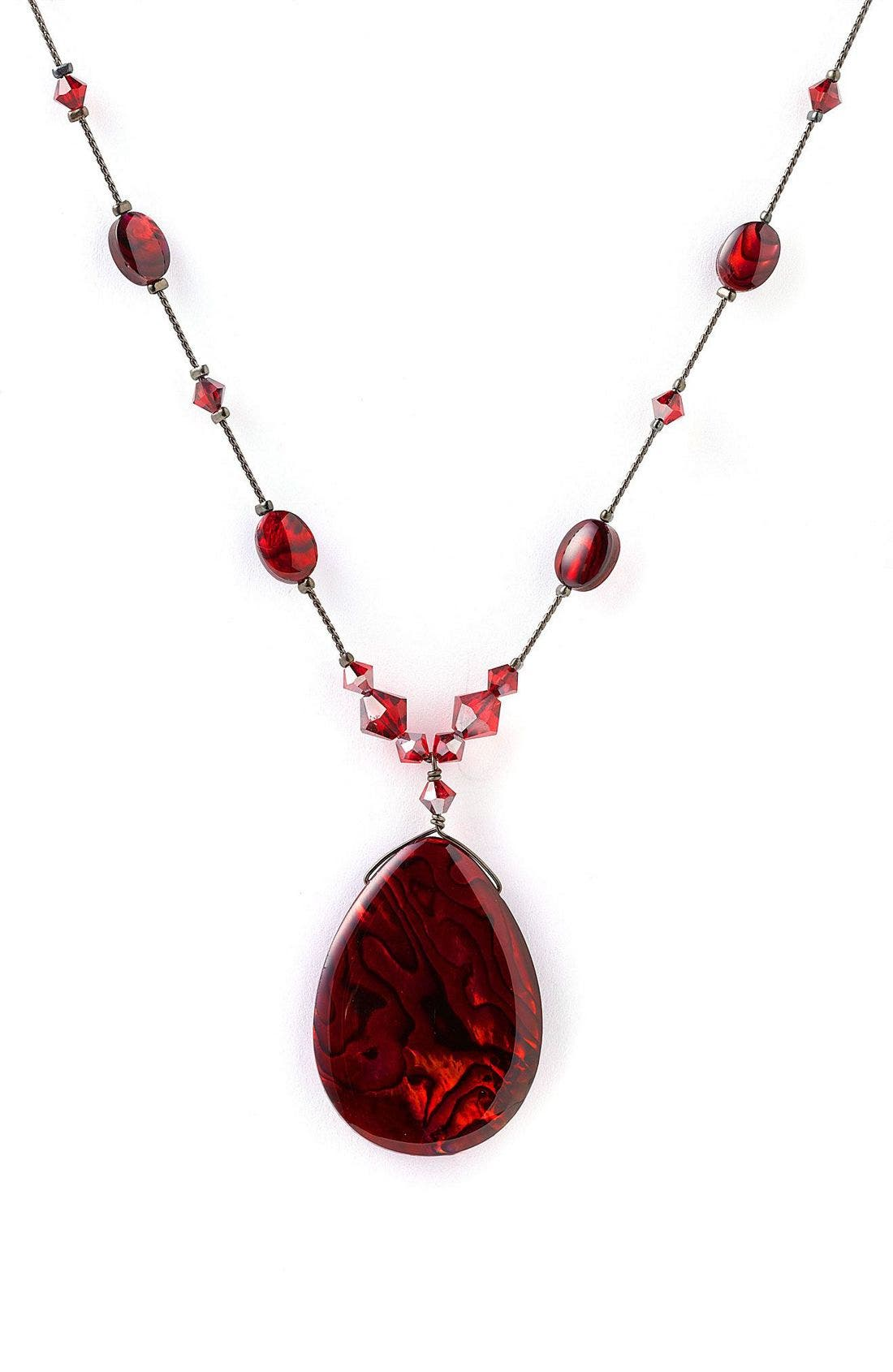 Pendant Necklace,                         Main,                         color, Red Abalone
