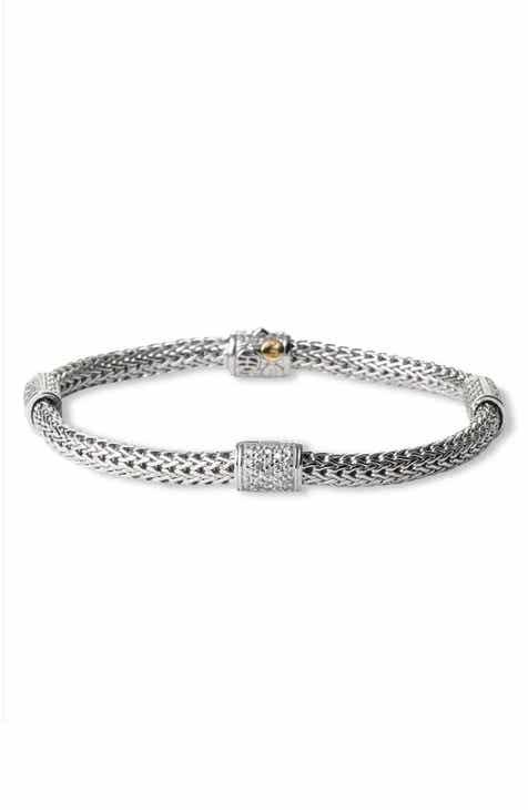 John Hardy Clic Chain Pavé Diamond Station Bracelet