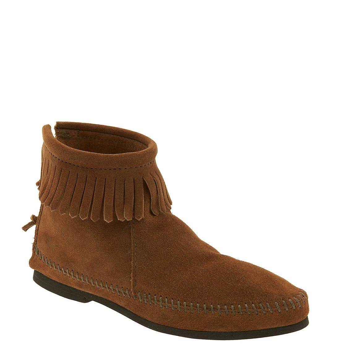 Fringed Short Boot,                             Main thumbnail 1, color,                             Brown