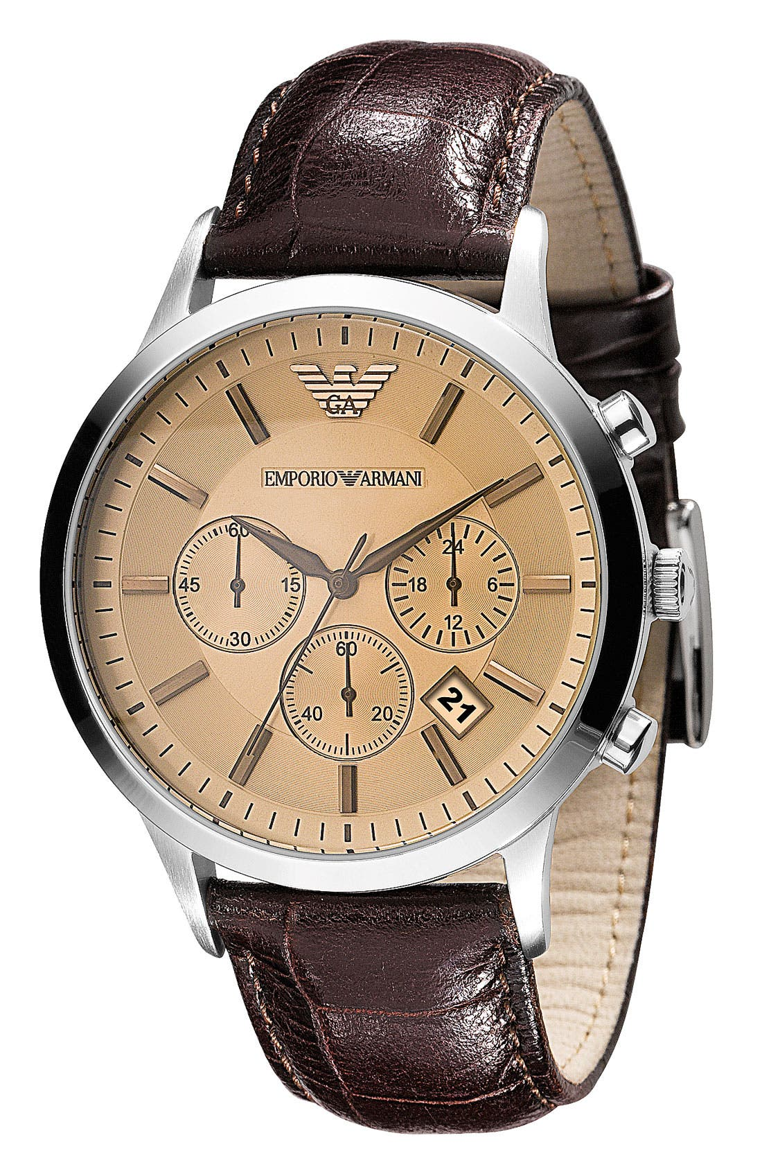 Alternate Image 2  - Emporio Armani Stainless Steel Watch, 43mm