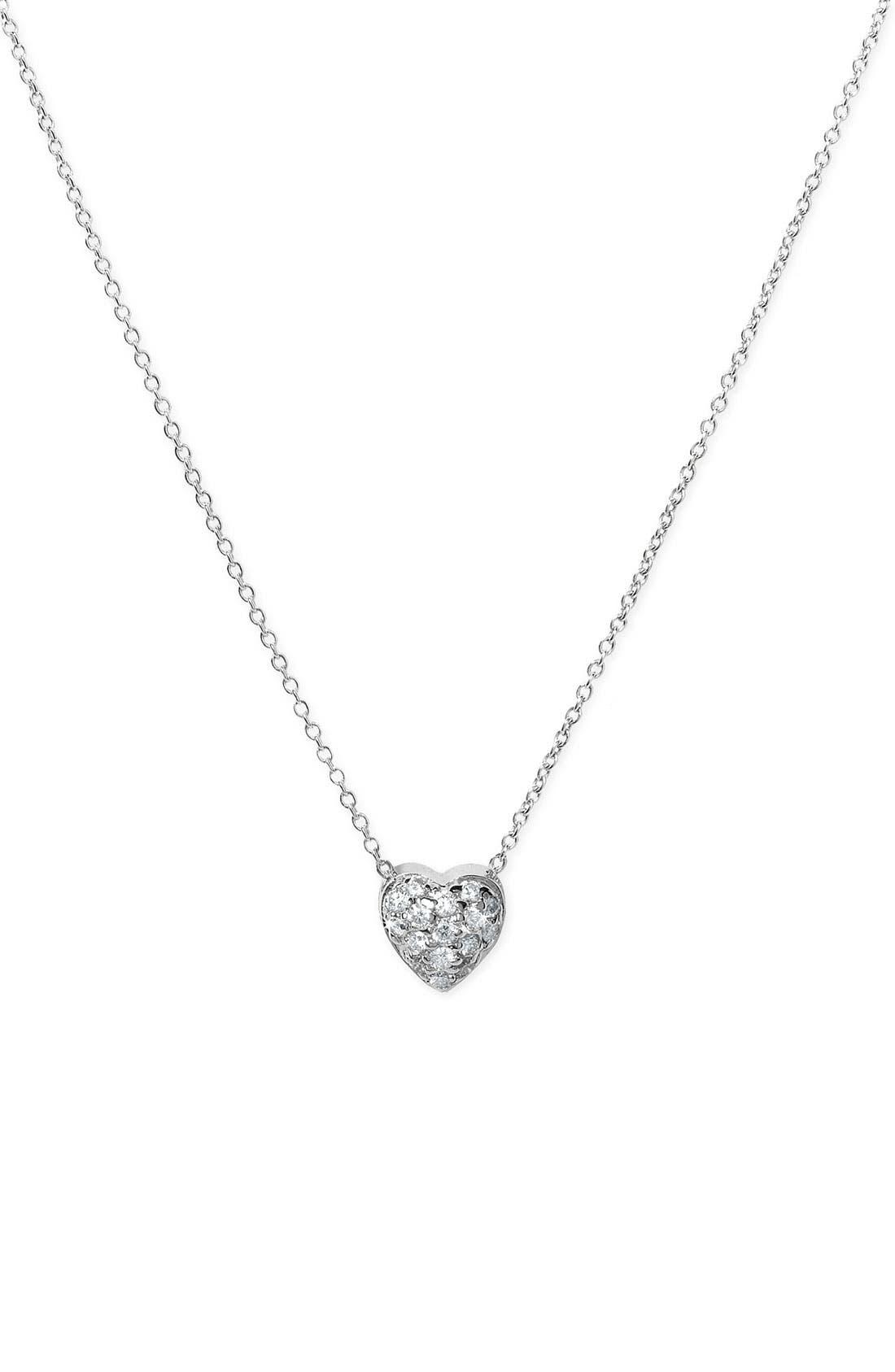 'Tiny Treasures' Diamond Puffed Heart Pendant Necklace,                         Main,                         color, Puffed Heart