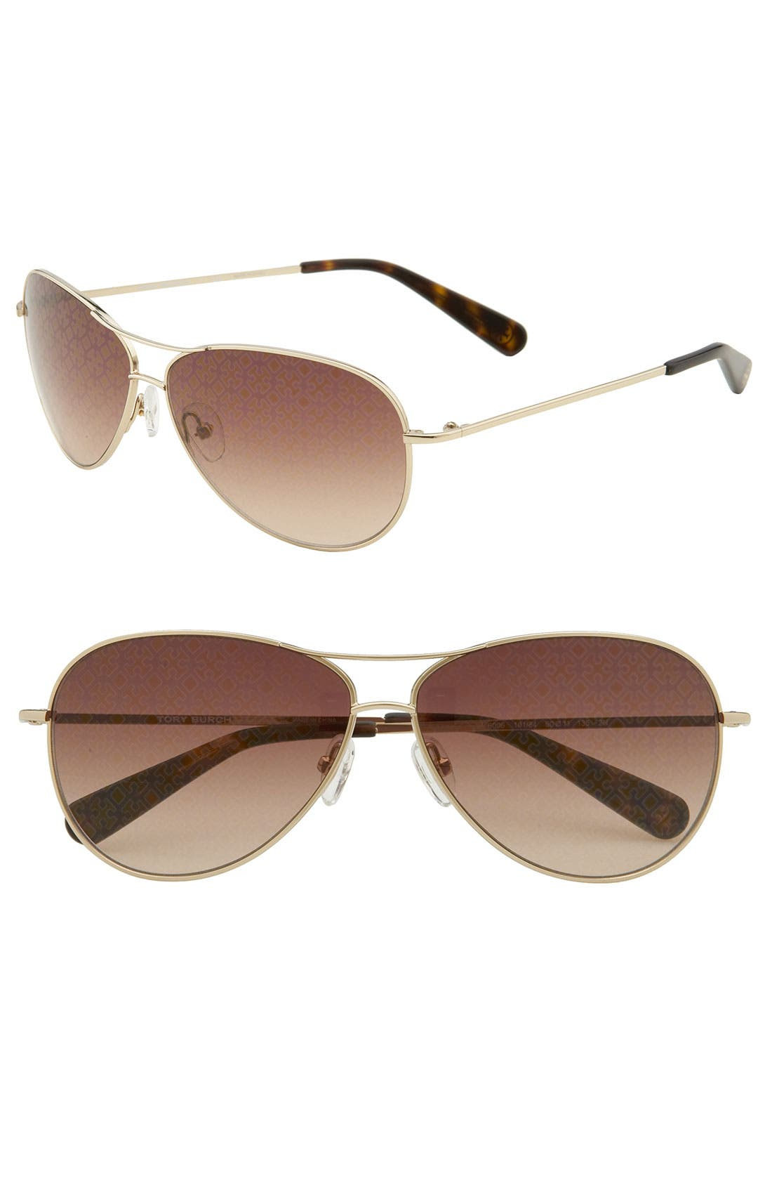 Main Image - Tory Burch 60mm Metal Aviator Sunglasses