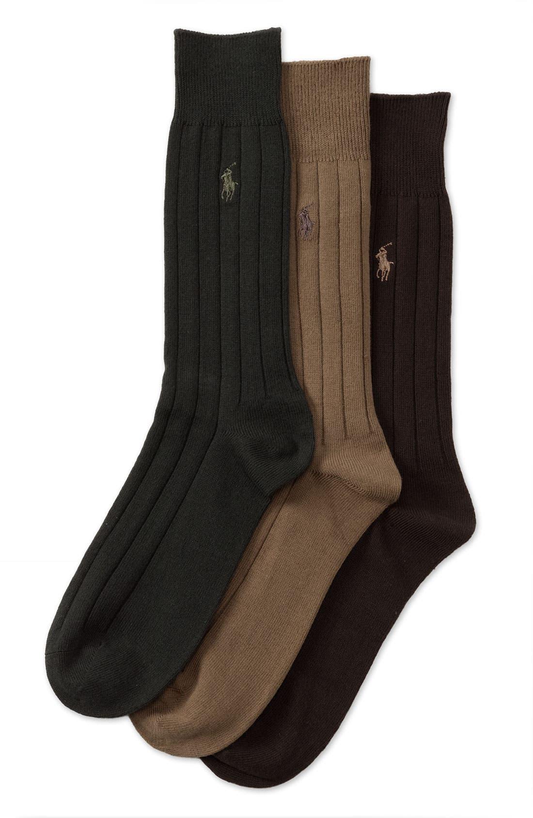 3-Pack Crew Socks,                             Main thumbnail 1, color,                             Tobacco, Olive, Brown