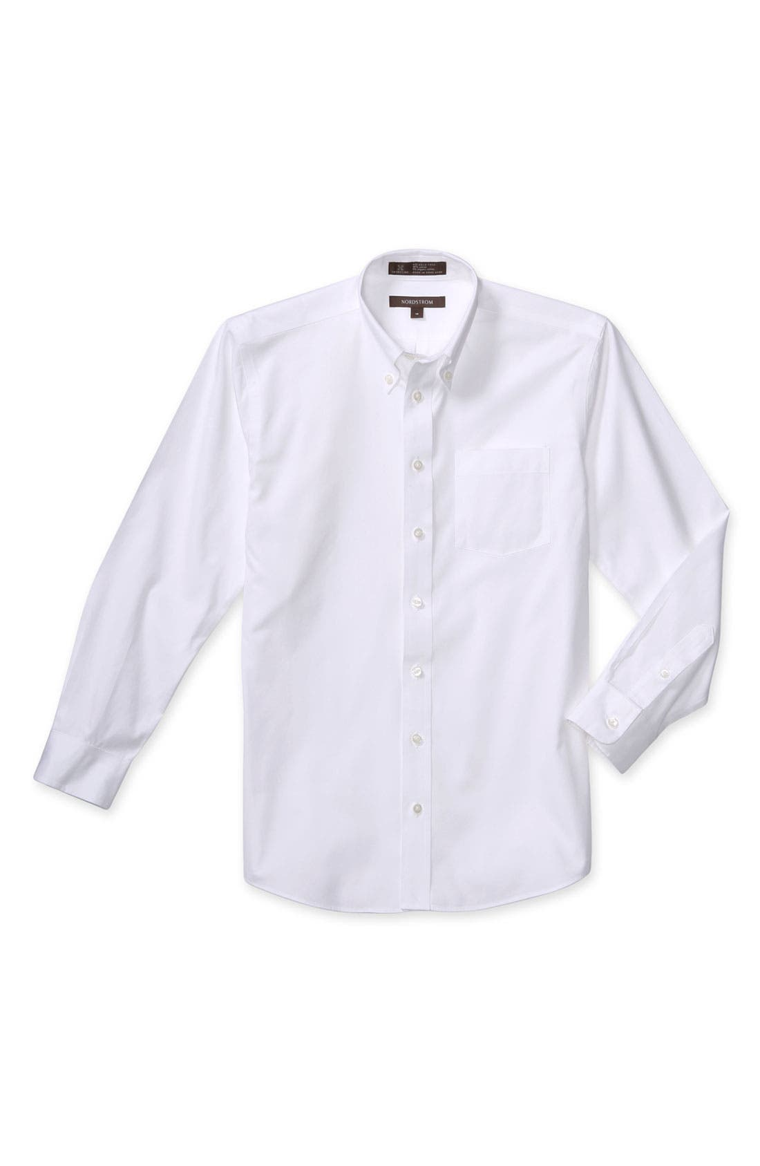 Main Image - Nordstrom Smartcare™ Long Sleeve Oxford Shirt (Big Boys)