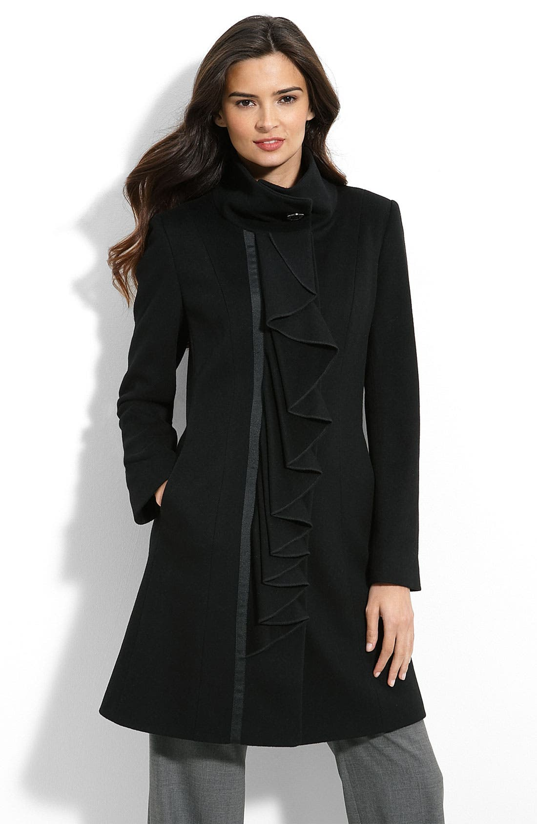 Alternate Image 1 Selected - Tahari 'Heide' Ruffle Front Coat