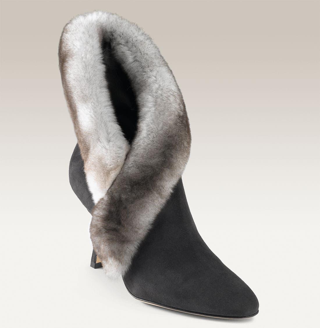 Main Image - Manolo Blahnik 'Nesta' Fur Trim Bootie