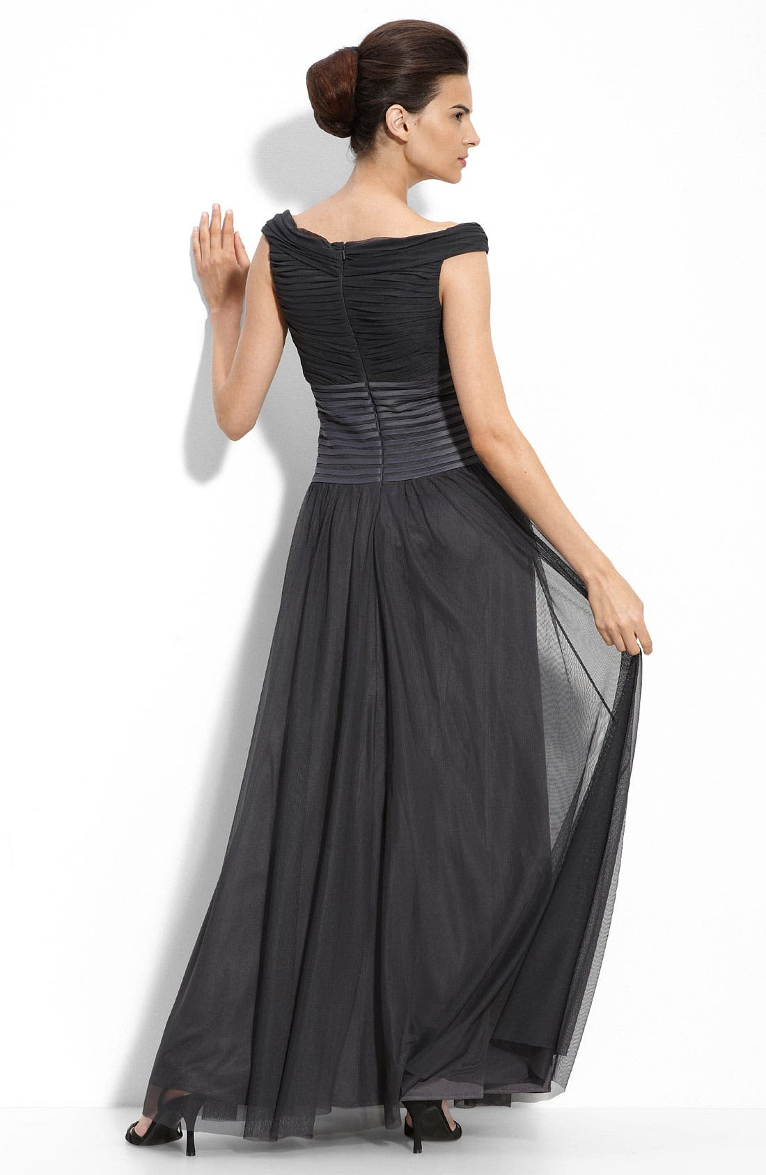 Alternate Image 2  - JS Collections Off the Shoulder Mesh Gown