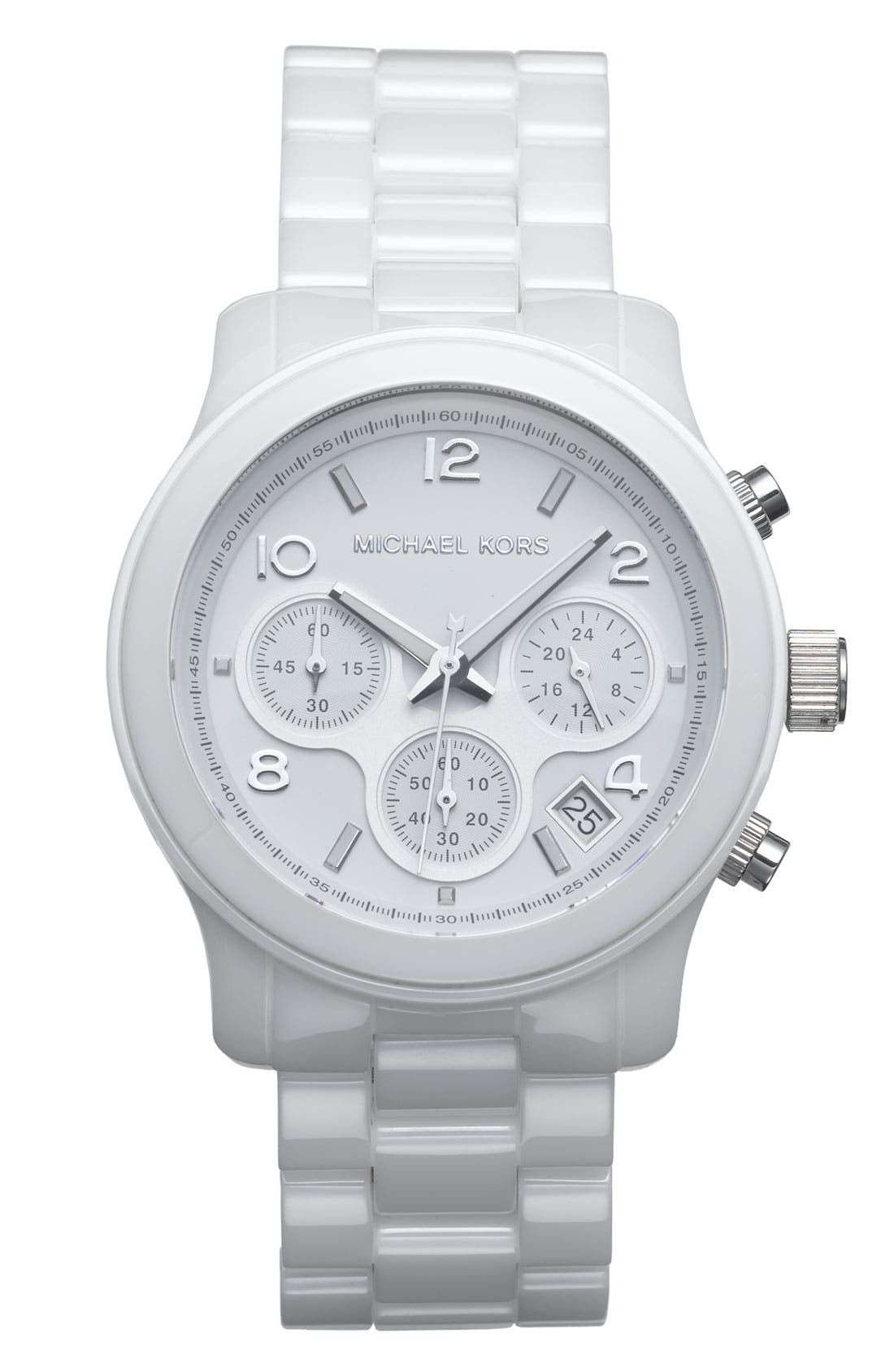Michael Kors 'Runway Ceramic' Watch, 40mm,                             Main thumbnail 1, color,                             White