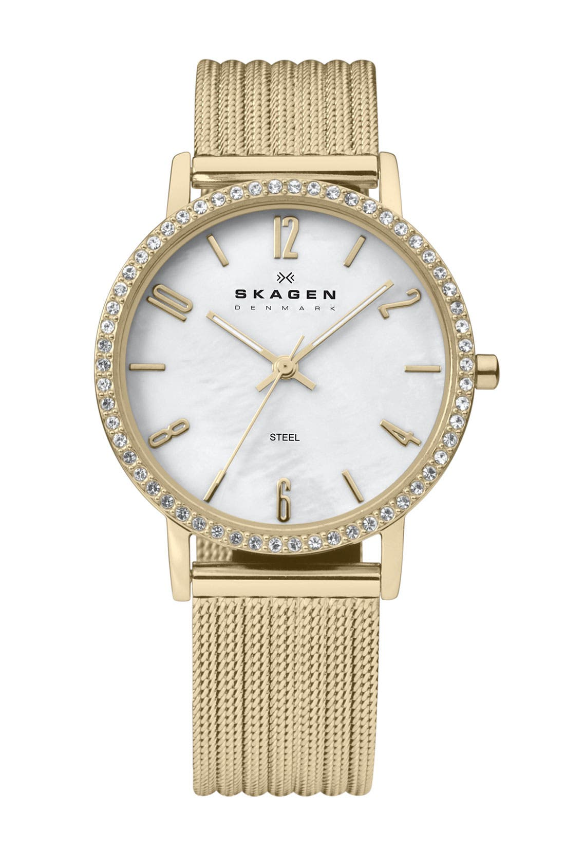 Alternate Image 1 Selected - Skagen Stripe Mesh Bracelet Watch, 32mm