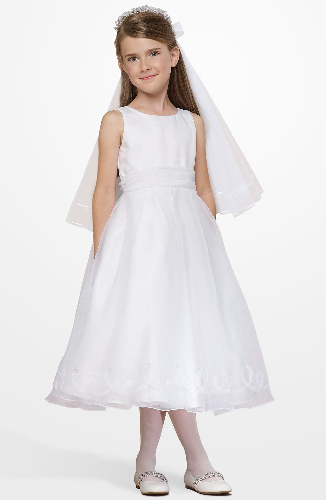 Alternate Image 1 Selected - Us Angels Embellished Satin & Organza Dress (Little Girls)