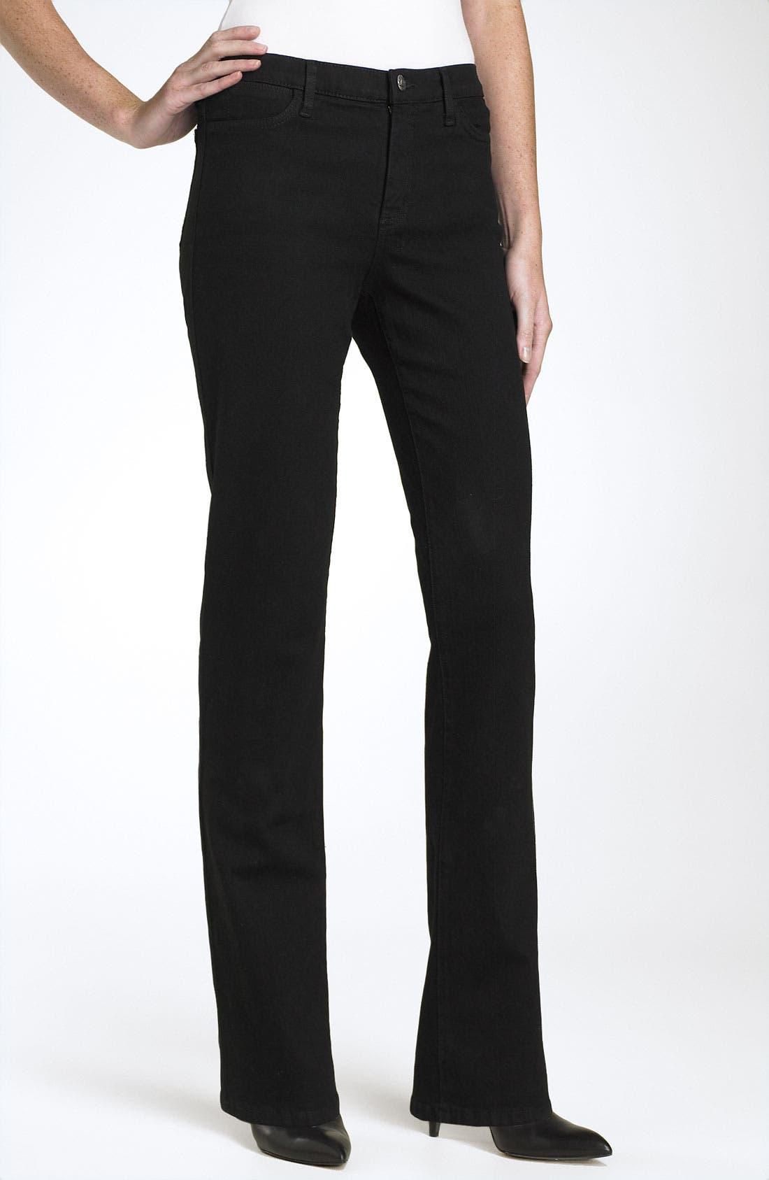 Straight Leg Stretch Jeans,                             Alternate thumbnail 2, color,                             Black