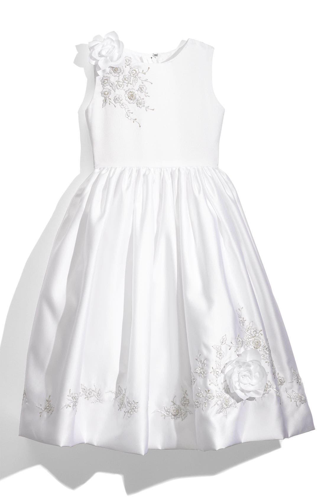 Alternate Image 1 Selected - Joan Calabrese for Mon Cheri Sleeveless Satin Dress (Big Girls)