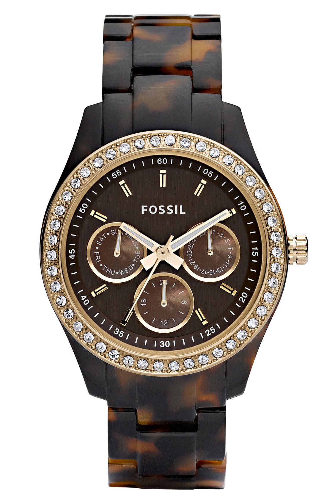 Alternate Image 1 Selected - Fossil 'Stella' Multifunction Resin Watch, 37mm