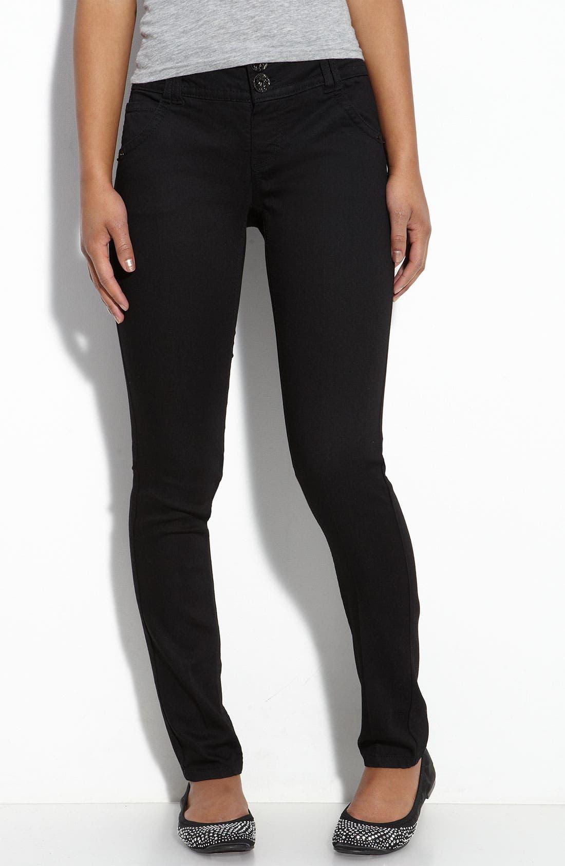 Alternate Image 2  - Jolt Double Button Skinny Denim Pants (Black Wash) (Juniors)