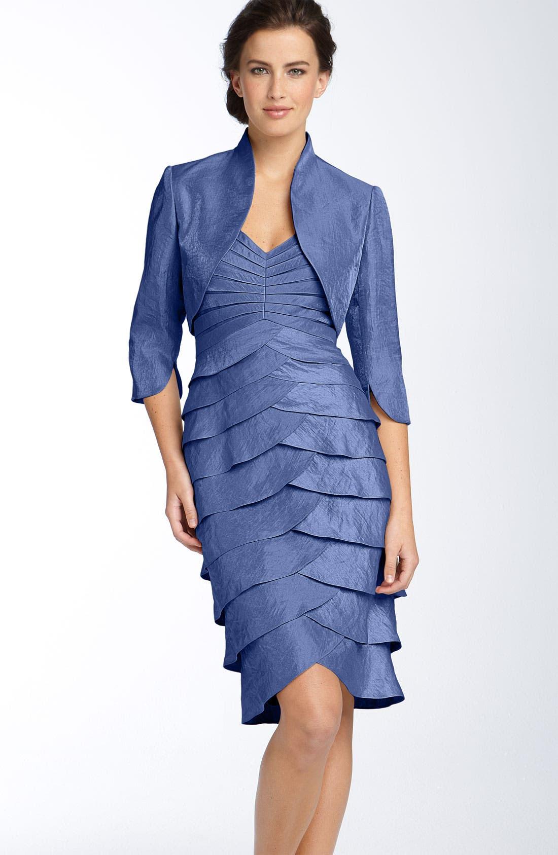 Main Image - Adrianna Papell Tiered Hammered Satin Sheath Dress & Bolero (Regular & Petite)