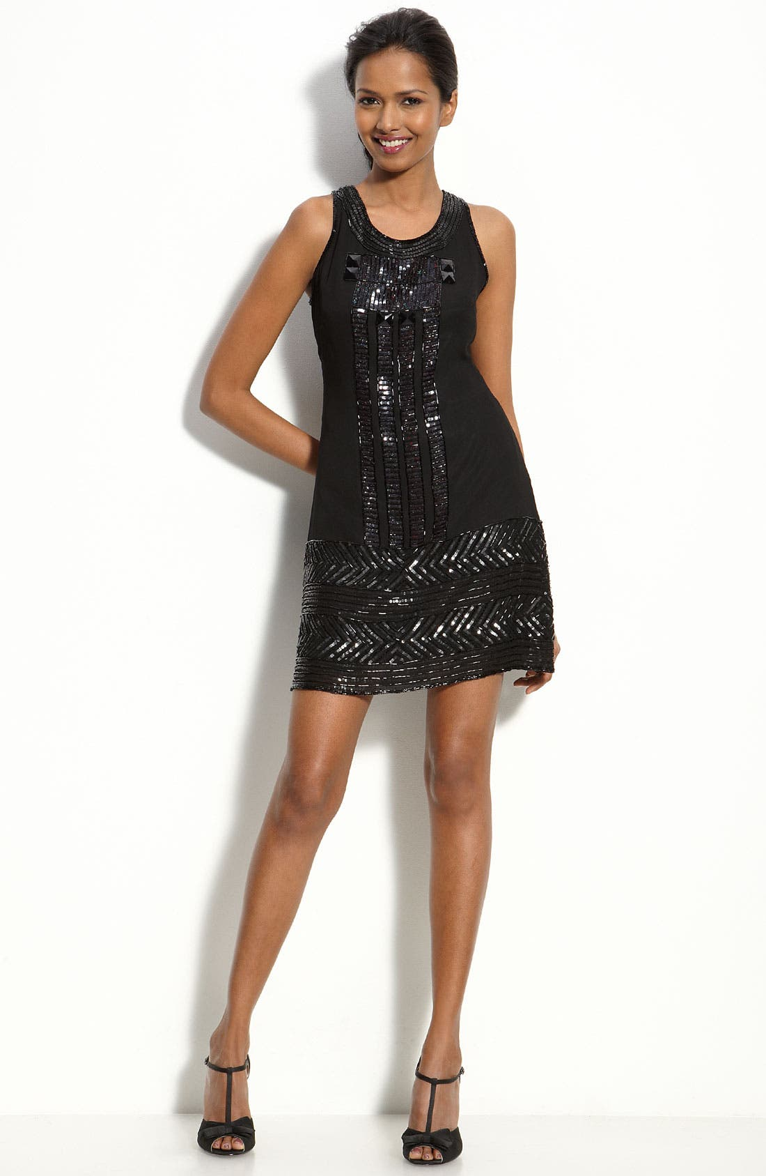Main Image - Adrianna Papell Sequin Trim Shift Dress