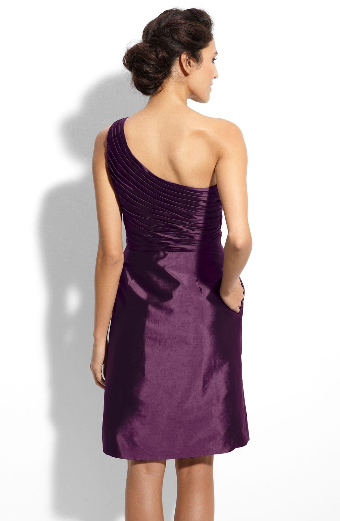 Alternate Image 2  - ML Monique Lhuillier Bridesmaids One Shoulder Taffeta Dress