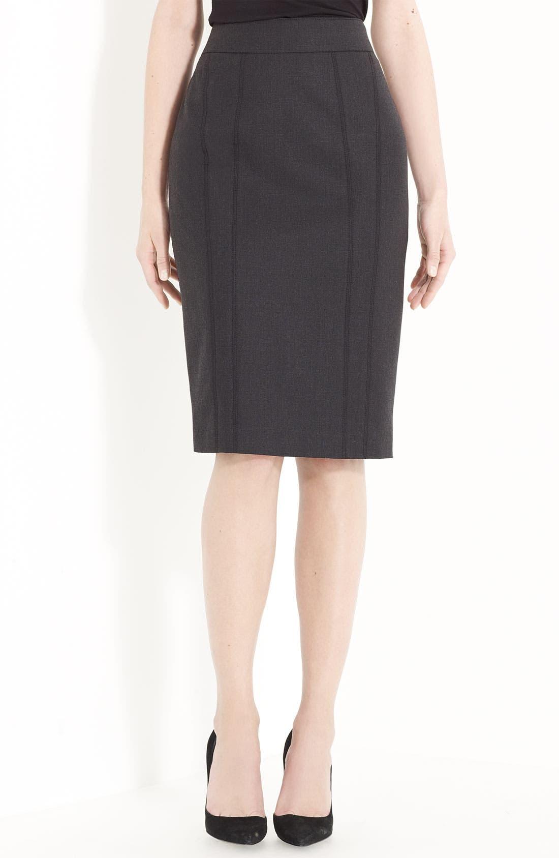 Alternate Image 1 Selected - Armani Collezioni Stretch Flannel Skirt