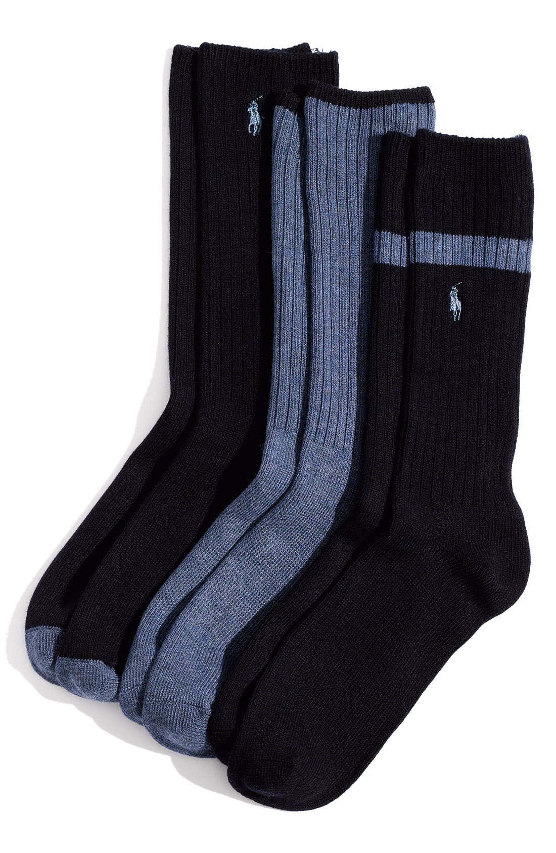 Alternate Image 1 Selected - Polo Ralph Lauren Ribbed Socks (3-Pack)