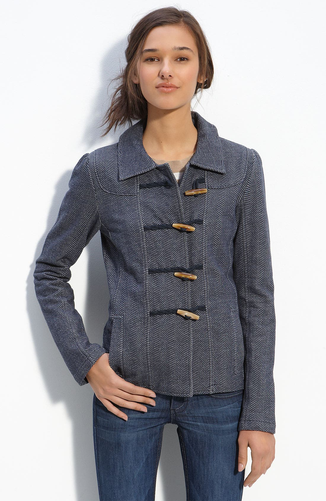Alternate Image 1 Selected - Rubbish® Fitted Knit Duffle Jacket (Juniors)