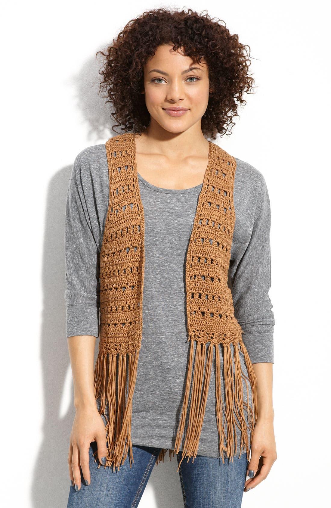 Alternate Image 1 Selected - WallpapHer Fringed Vest (Juniors)