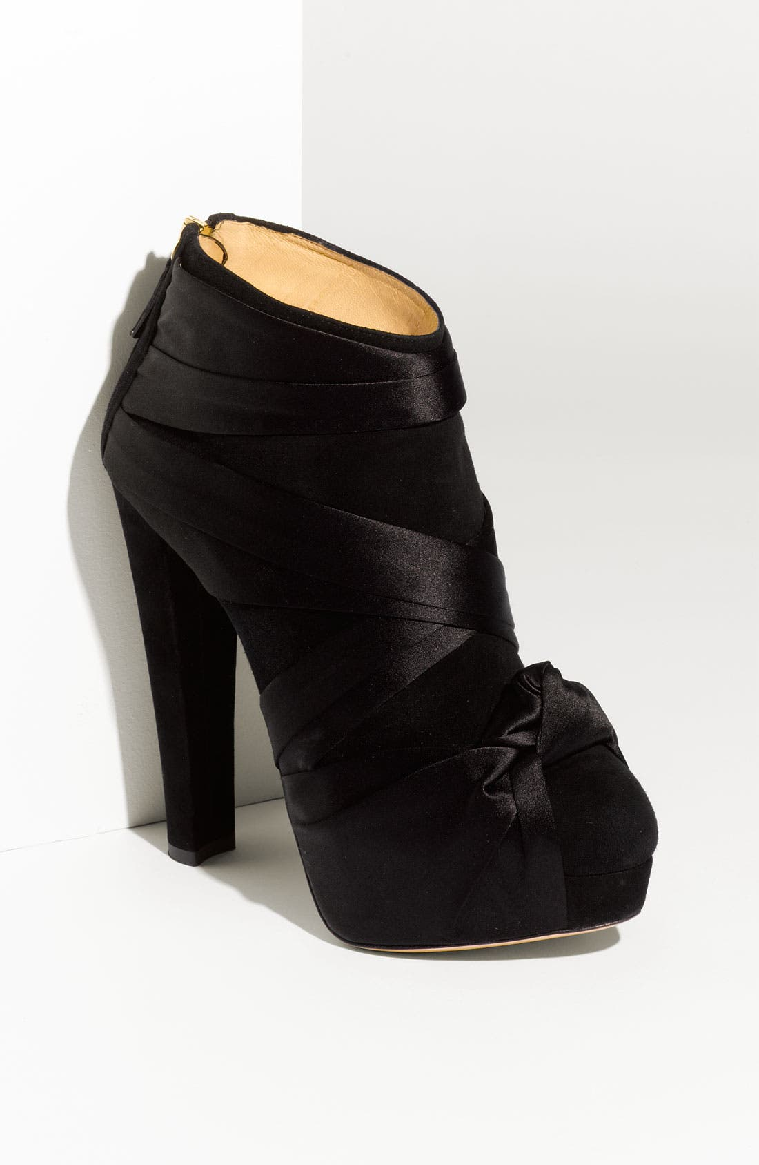 Main Image - Charlotte Olympia Satin Knot Suede Ankle Boot