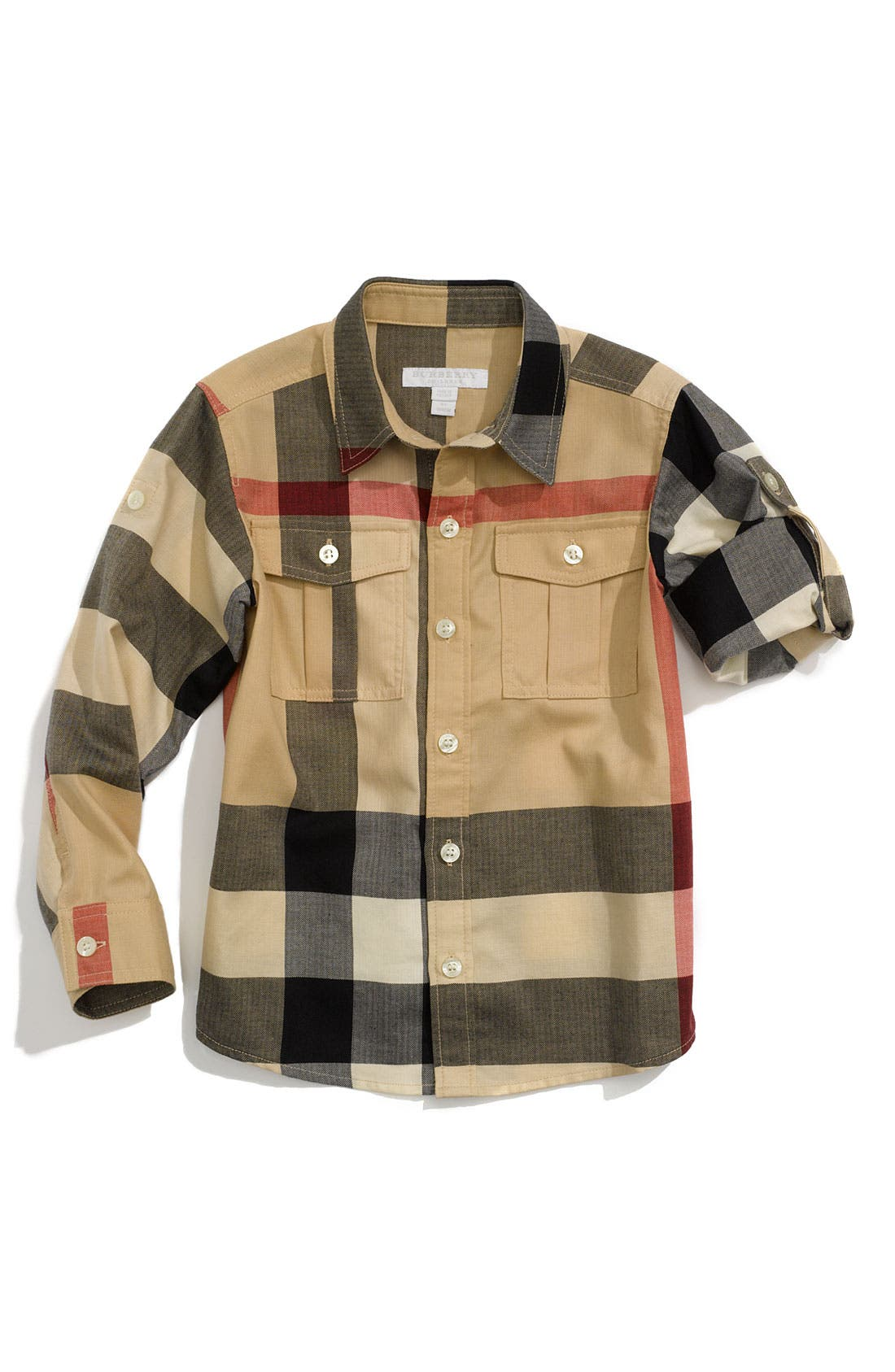 Alternate Image 1 Selected - Burberry Roll Sleeve Shirt (Toddler)