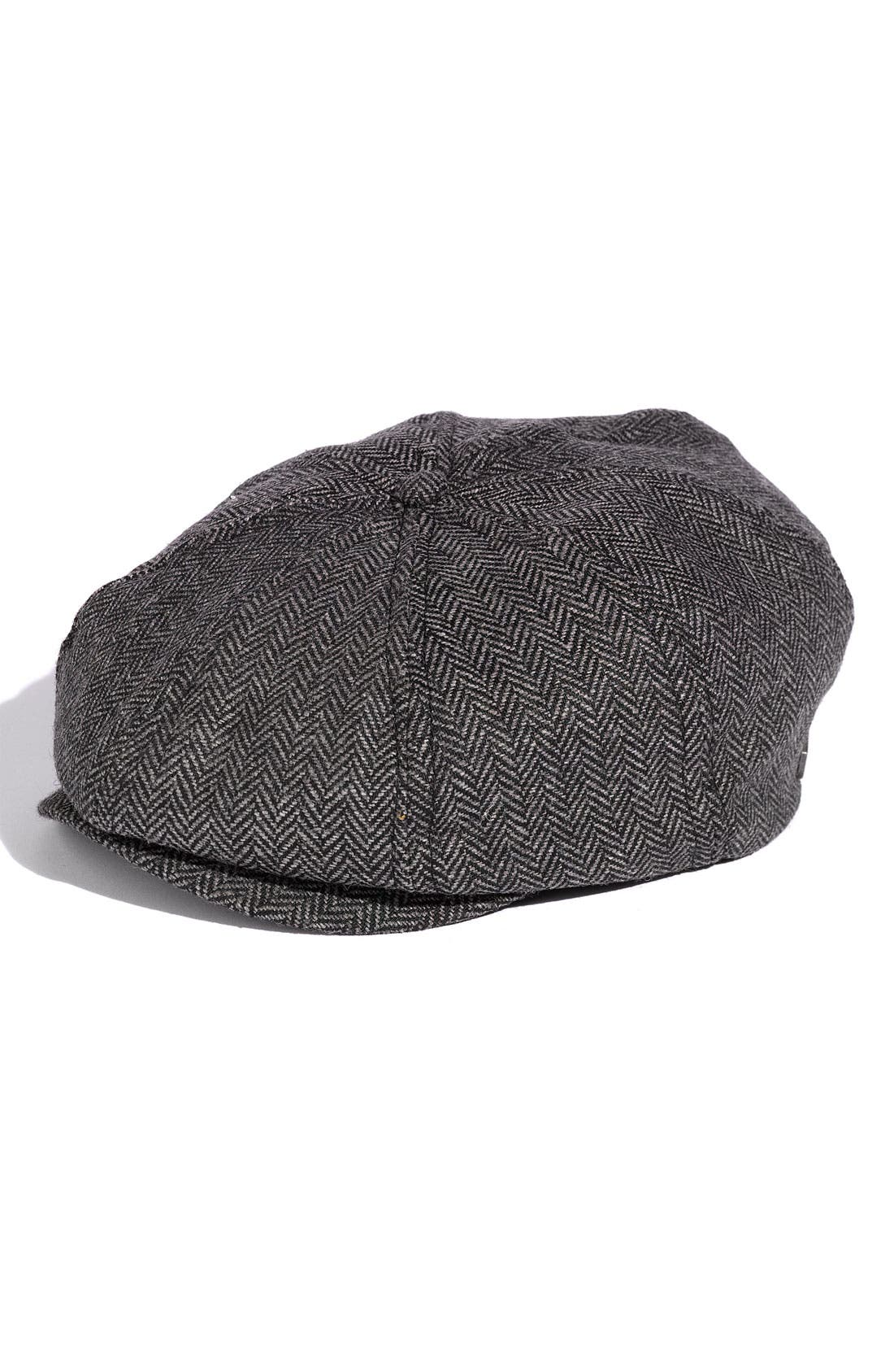 'Brood' Driving Cap,                             Main thumbnail 1, color,                             Grey/Black Herringbone