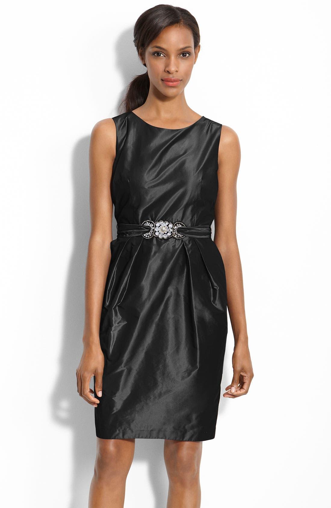 Main Image - Alex Evenings Beaded Waist Taffeta Sheath Dress