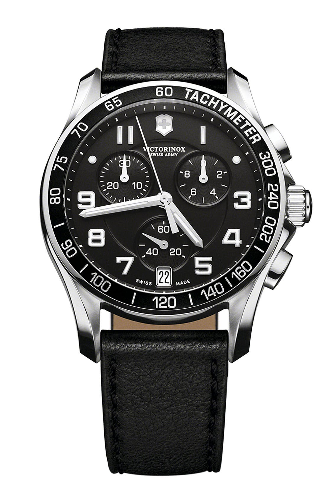 Main Image - Victorinox Swiss Army® 'Chrono Classic' Leather Strap Watch, 41mm