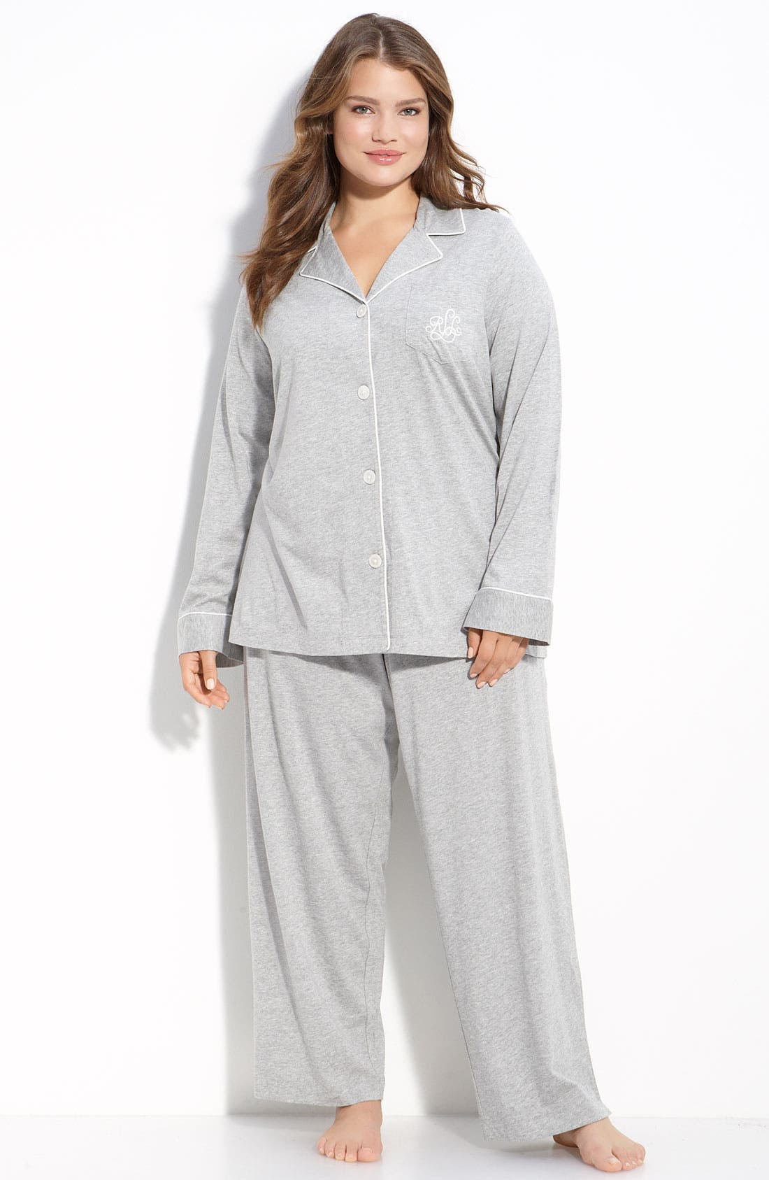 Alternate Image 1 Selected - Lauren Ralph Lauren Knit Pajamas (Plus Size) (Online Only)