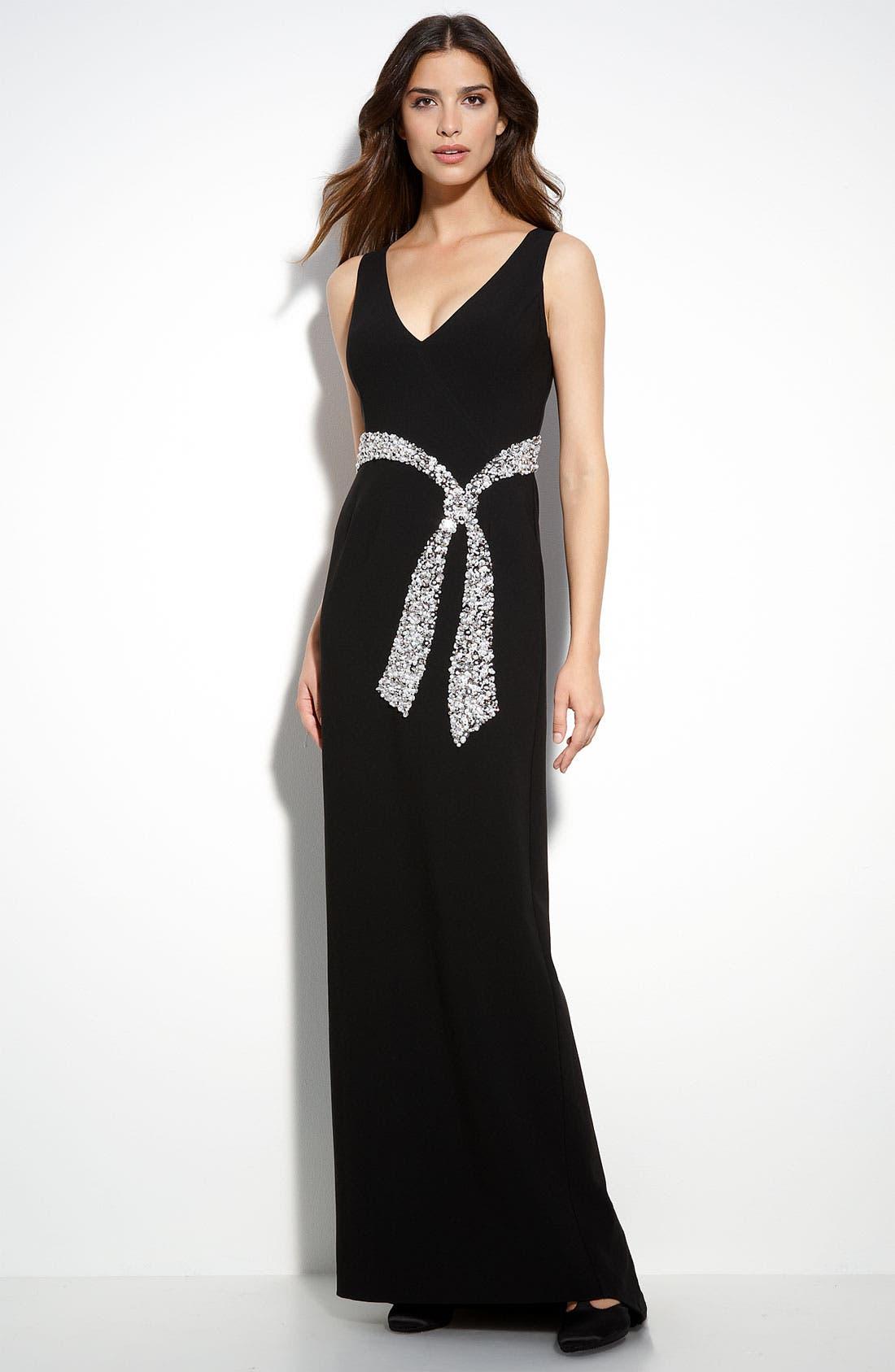 Crepe Marocain Gown,                             Main thumbnail 1, color,                             Caviar