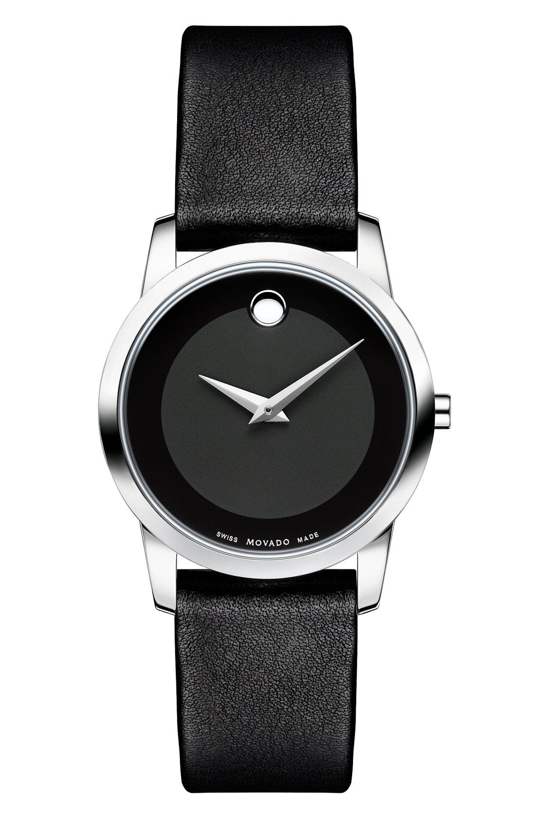 'Museum' Small Leather Strap Watch, 30mm,                         Main,                         color, Black
