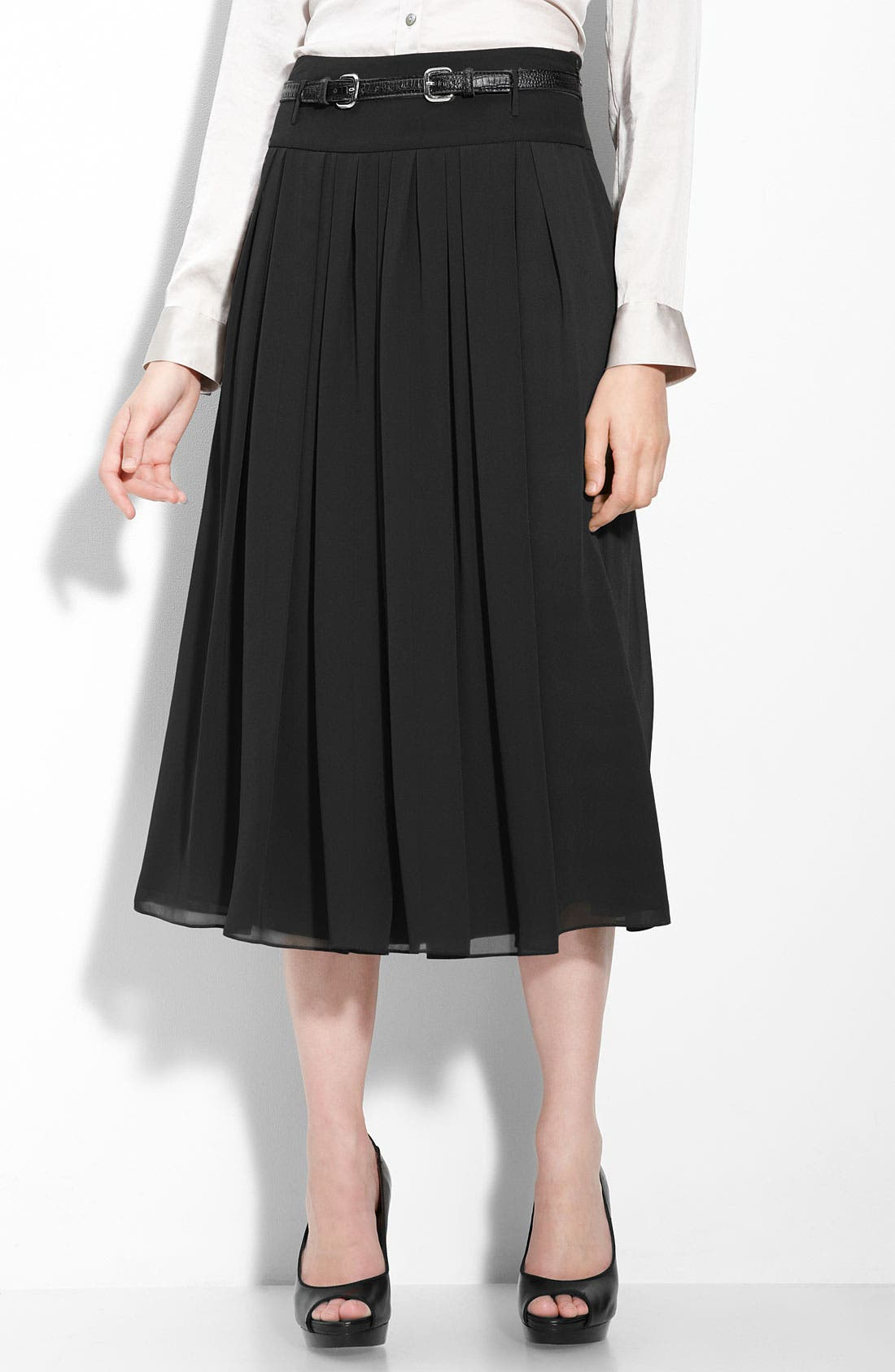Long Chiffon Skirt,                             Main thumbnail 1, color,                             Rich Black
