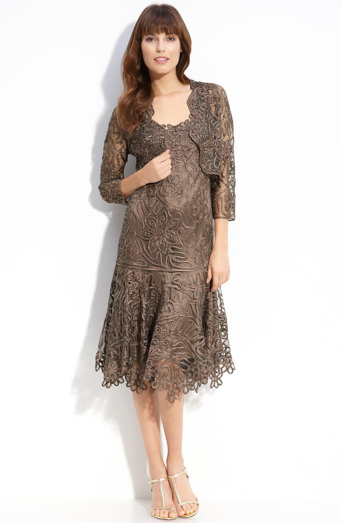 Alternate Image 1 Selected - Soulmates Beaded Crochet Silk Dress & Bolero