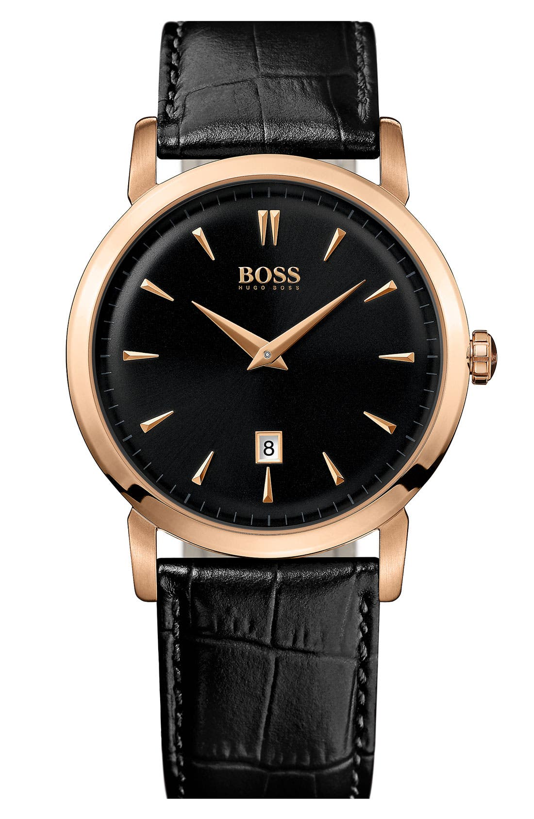 Alternate Image 1 Selected - BOSS Round Leather Strap Watch, 40mm
