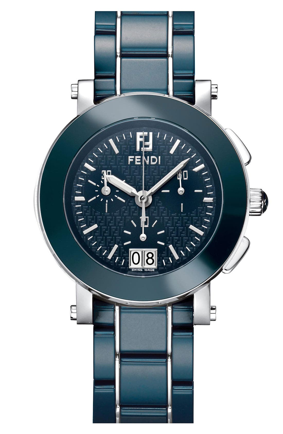Main Image - Fendi Large Ceramic Chronograph Watch