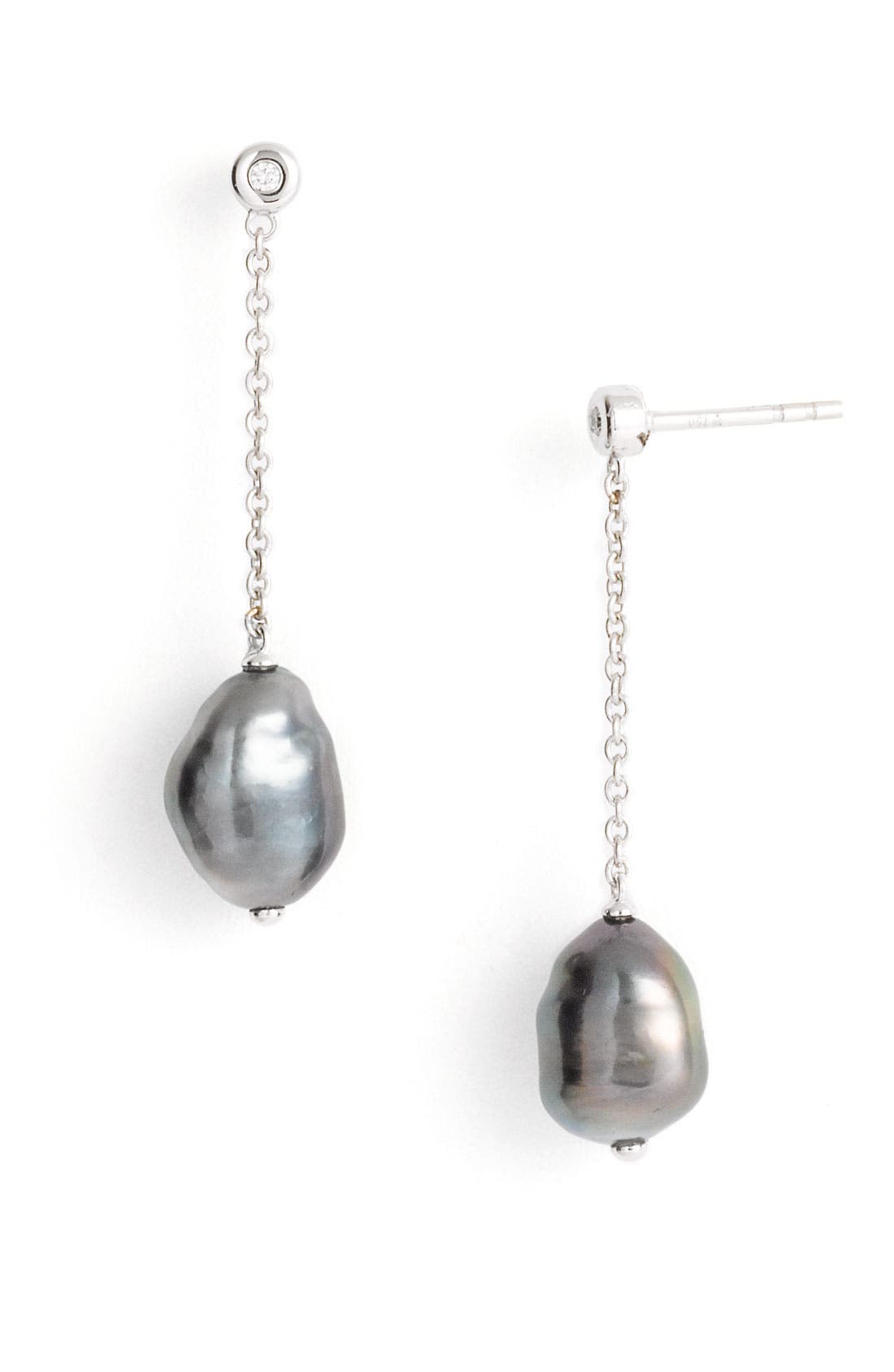 Alternate Image 1 Selected - Mikimoto 'Baroque' Black South Sea Cultured Pearl & Diamond Earrings
