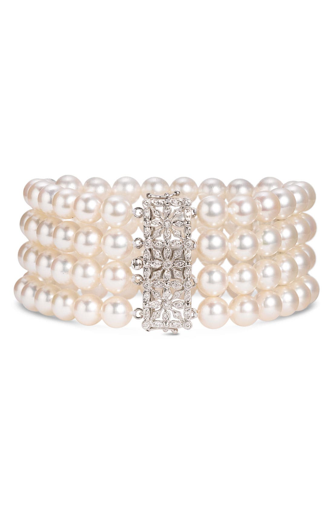 Alternate Image 1 Selected - Mastoloni 4-Strand Pearl & Diamond Clasp Bracelet