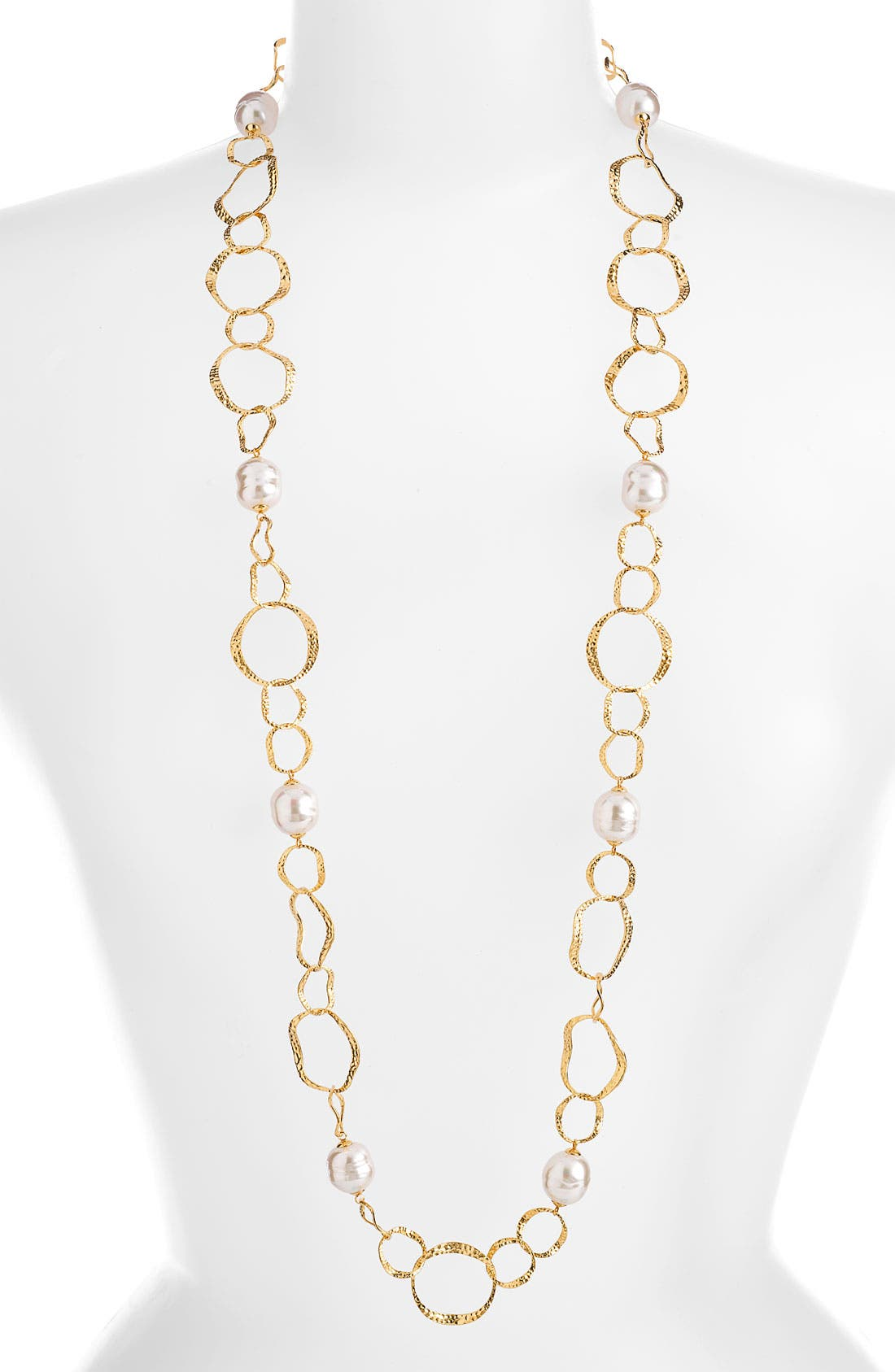 Main Image - Majorica Hammered Link & Baroque Pearl Long Necklace