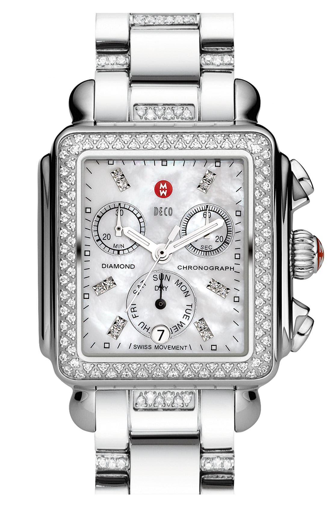 Alternate Image 2  - MICHELE 'Deco Diamond' Diamond Dial Watch Case & 18mm Bracelet