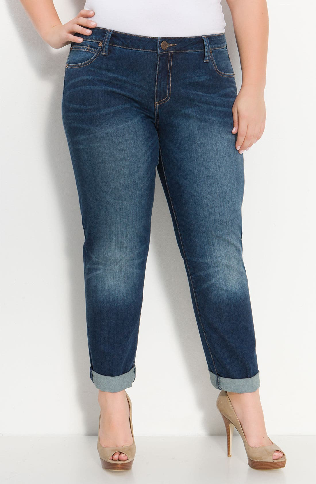 Alternate Image 2  - KUT from the Kloth Crop Boyfriend Jeans (Plus)
