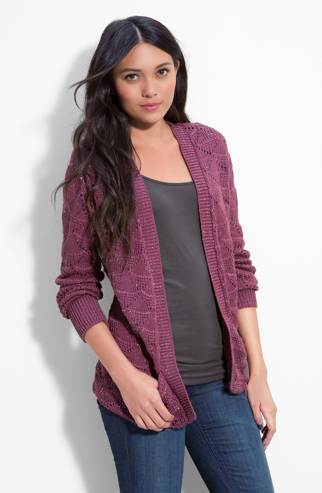 Main Image - Cotton Emporium Metallic Crochet Cardigan (Juniors)