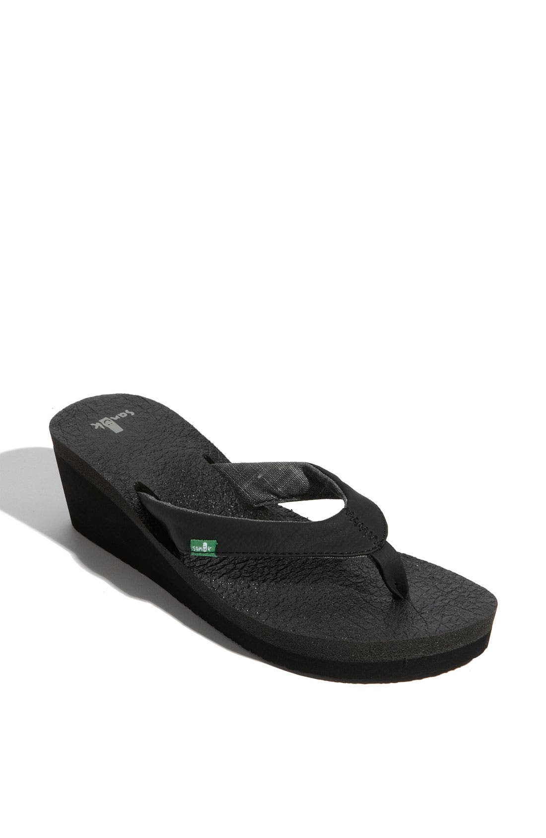 'Yoga Mat' Wedge Flip Flop,                             Main thumbnail 1, color,                             Black