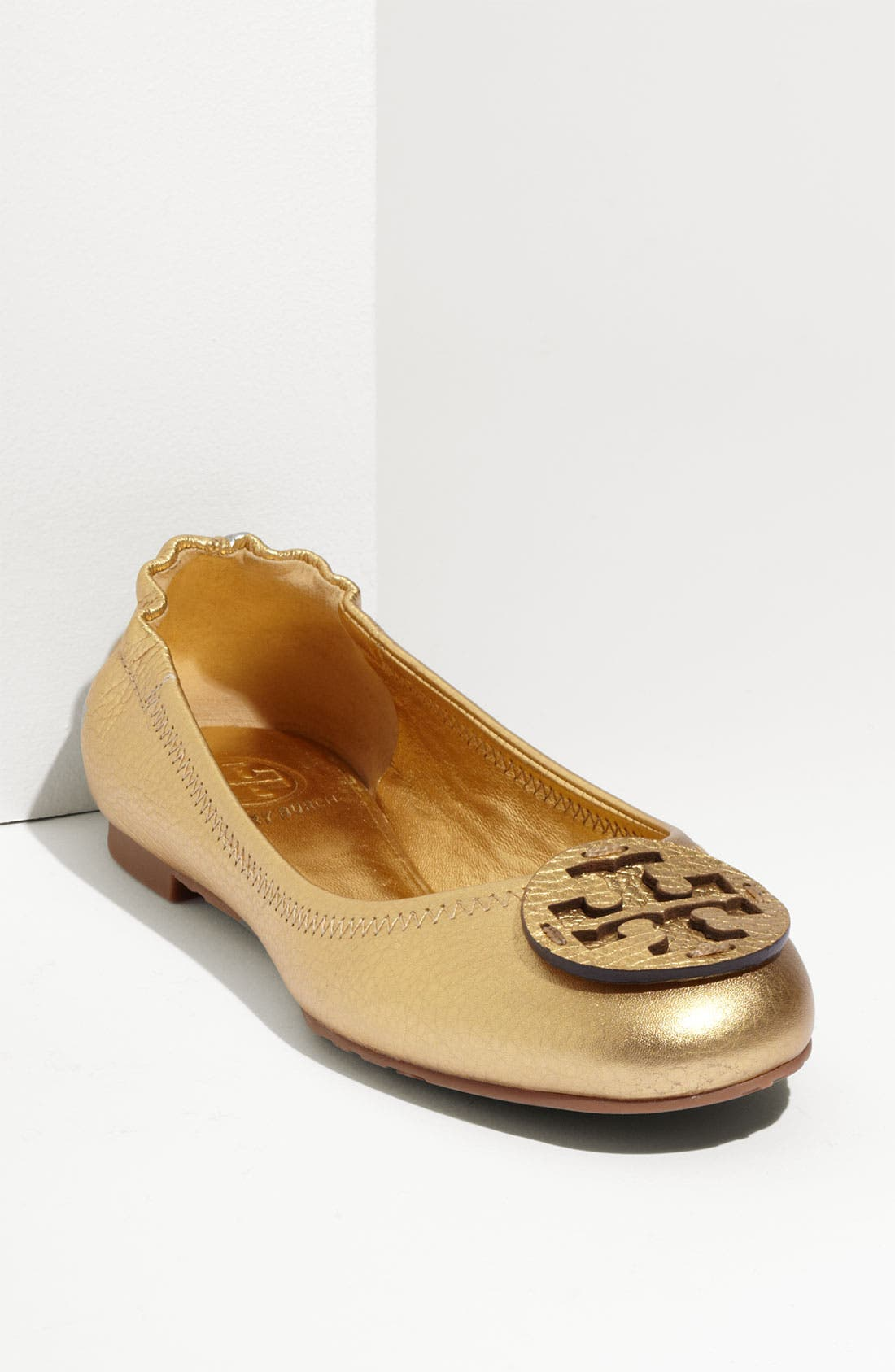Main Image - Tory Burch 'Reva' Metallic Tumbled Flat