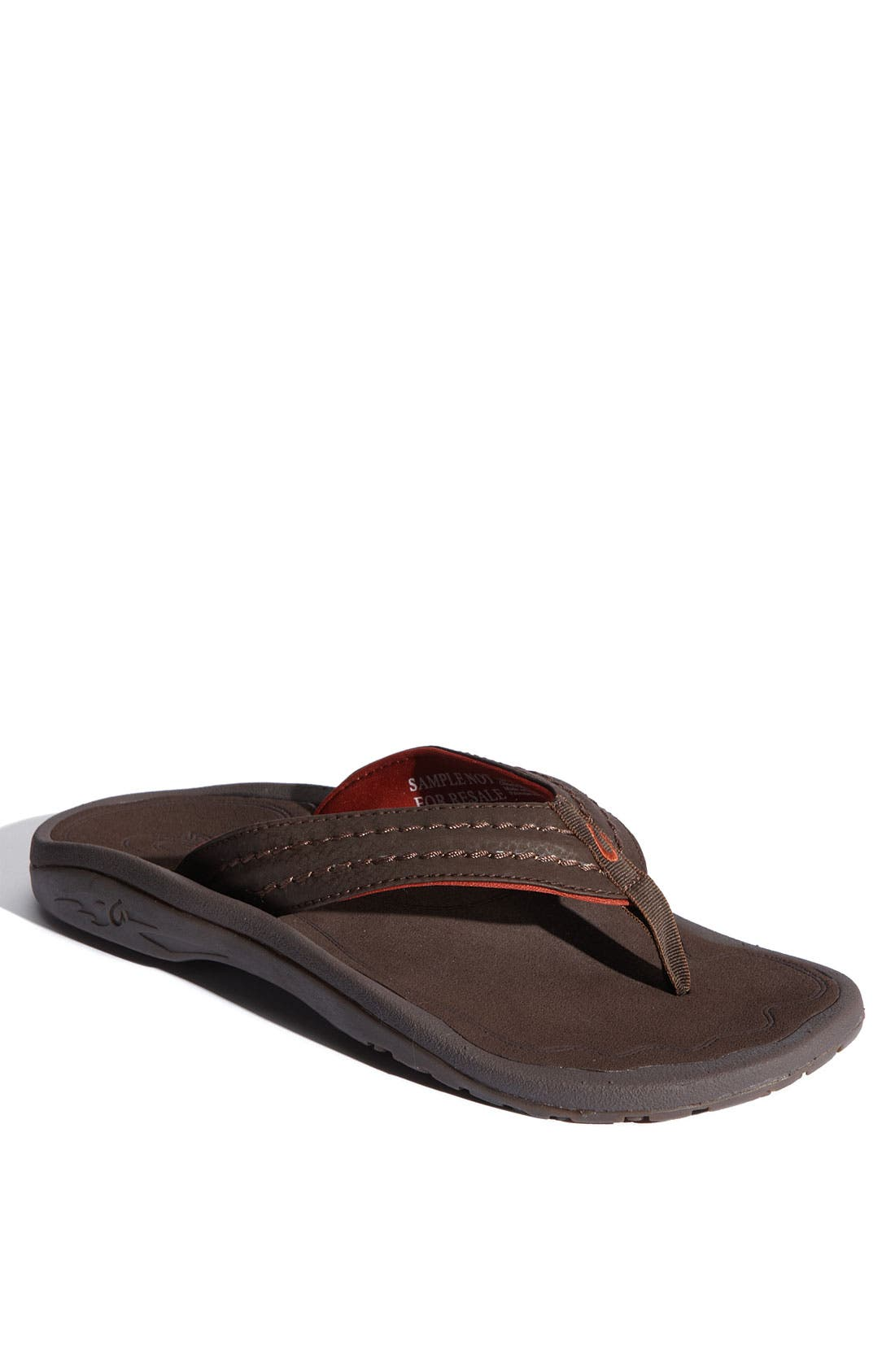Hokua Flip Flop,                             Main thumbnail 1, color,                             Dark Java Faux Leather
