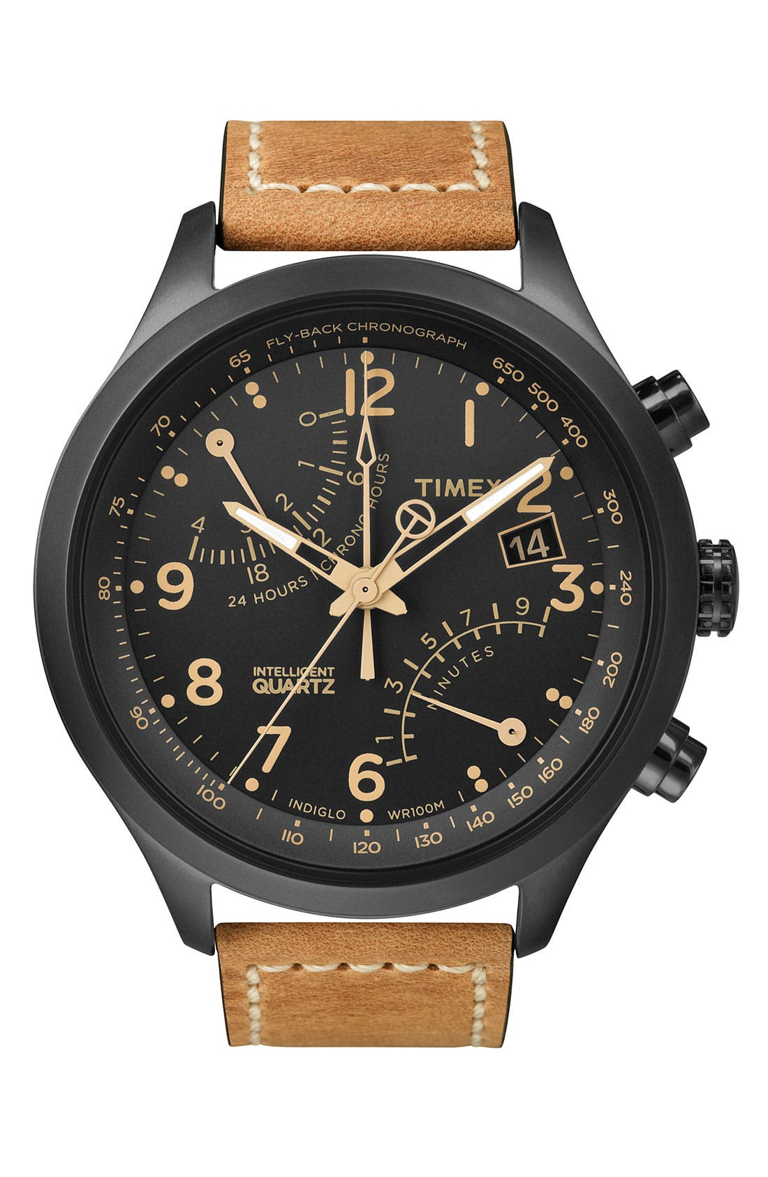Alternate Image 1 Selected - Timex® 'Intelligent Quartz' Flyback Chronograph Watch, 45mm