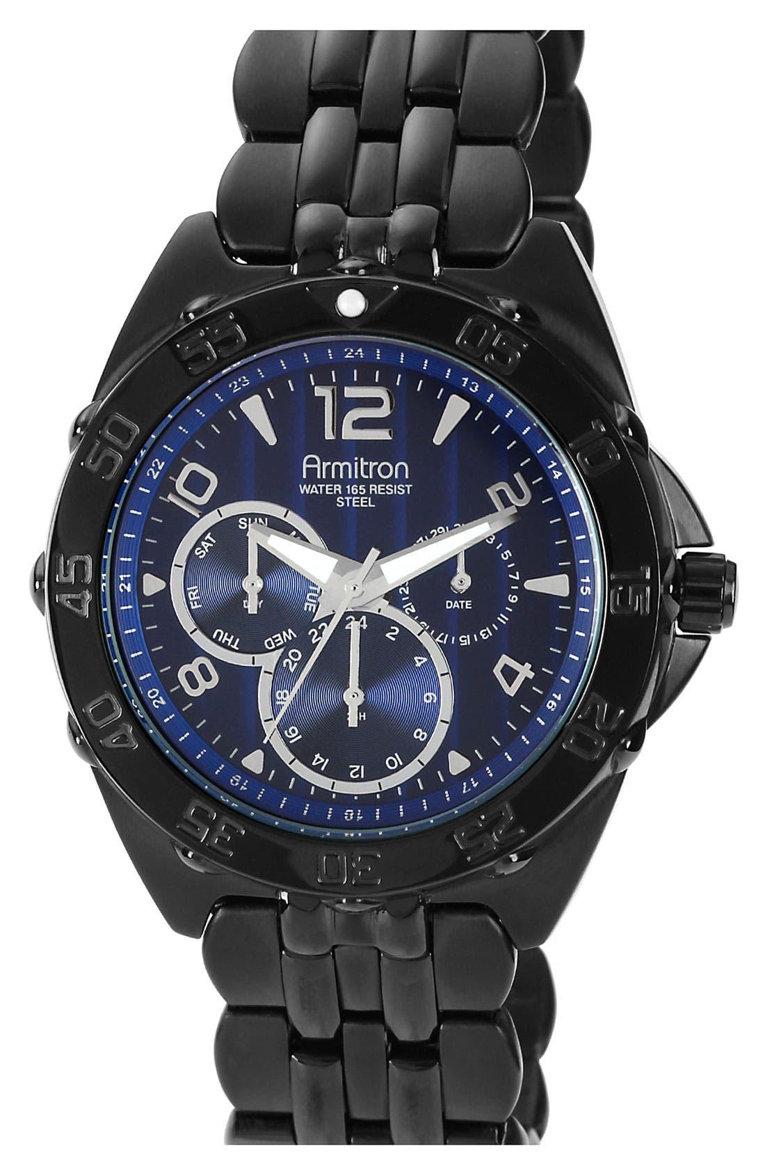 Engraved Bezel Multifunction IP Watch, 42mm,                             Main thumbnail 1, color,                             Blue/ Black