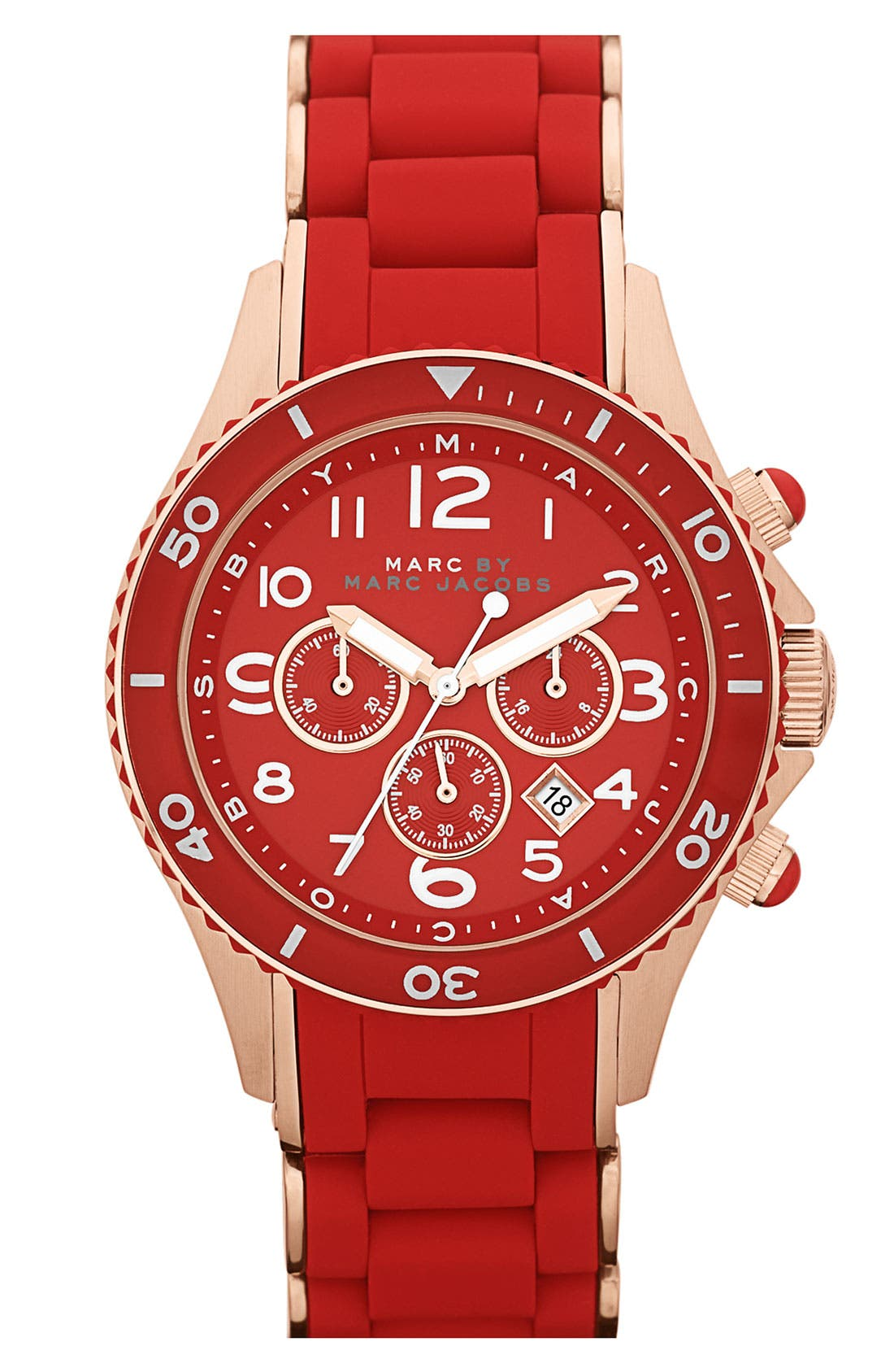 'Rock' Chronograph Silicone Bracelet Watch, 40mm,                             Main thumbnail 1, color,                             Red