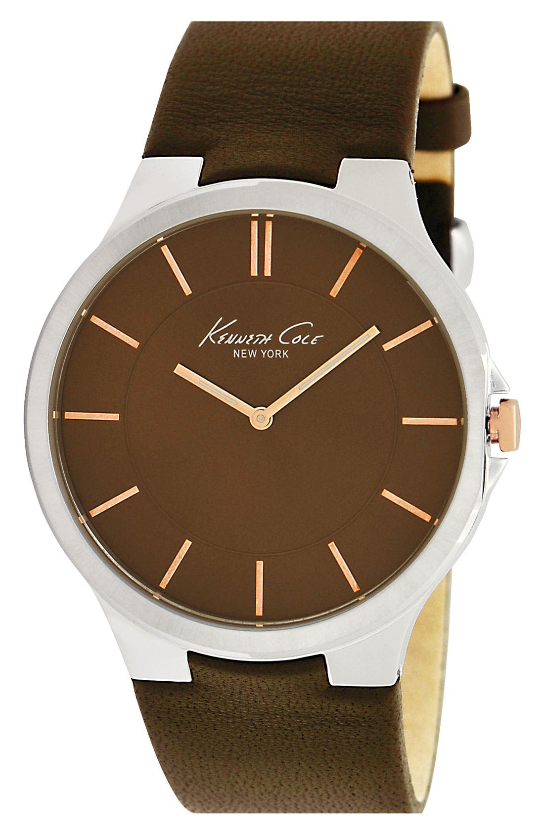 Main Image - Kenneth Cole New York Round Dial Leather Strap Watch